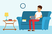 Man on a sofa with leptop. Vector illustration.