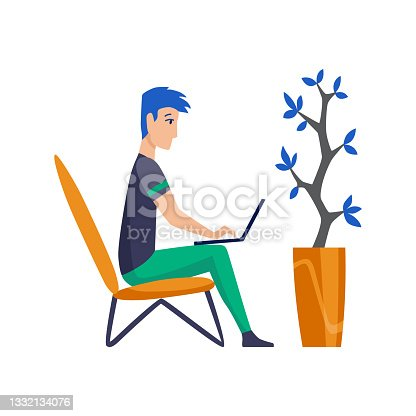 istock Freelance man working at home in comfortable conditions. Cartoon character work from home. Spend time at home during quarantine. Be safe 1332134076