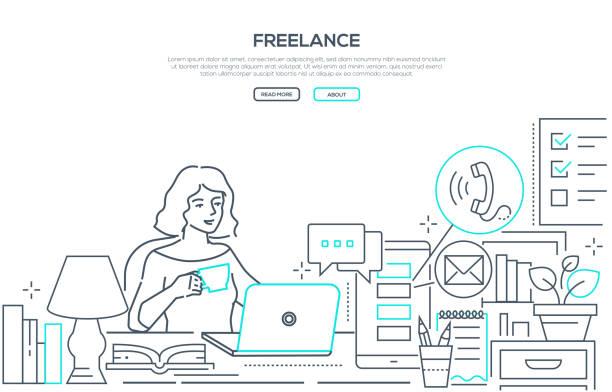フリーランス-モダンラインデザインスタイルのウェブバナー - テレワーク点のイラスト素材/クリップアート素材/マンガ素材/アイコン素材