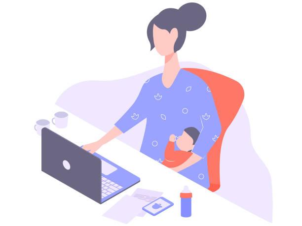 illustrations, cliparts, dessins animés et icônes de mère de freelance avec un ordinateur portable - femmes actives