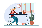 istock Freelance mother with baby working at home 1218917416
