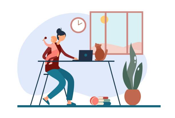自宅で働く赤ちゃんを持つフリーランスの母親 - 保育点のイラスト素材/クリップアート素材/マンガ素材/アイコン素材