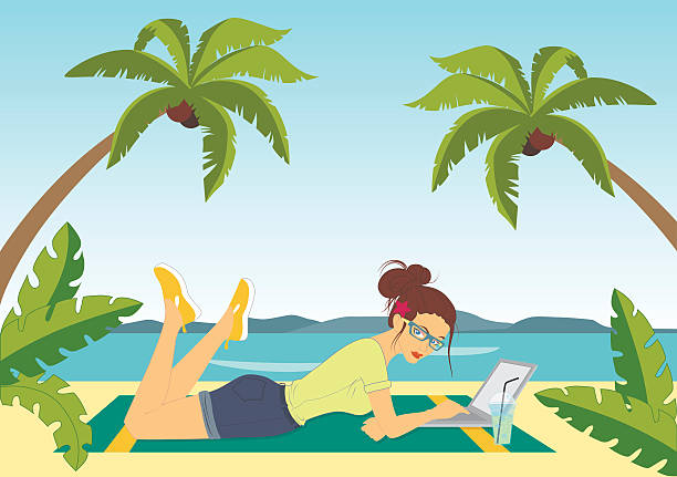 Freelance sur la plage - Illustration vectorielle