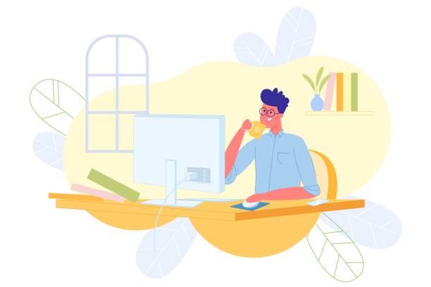 ilustrações de stock, clip art, desenhos animados e ícones de freelance programmer works at computer, cartoon. - enjoying wealthy life