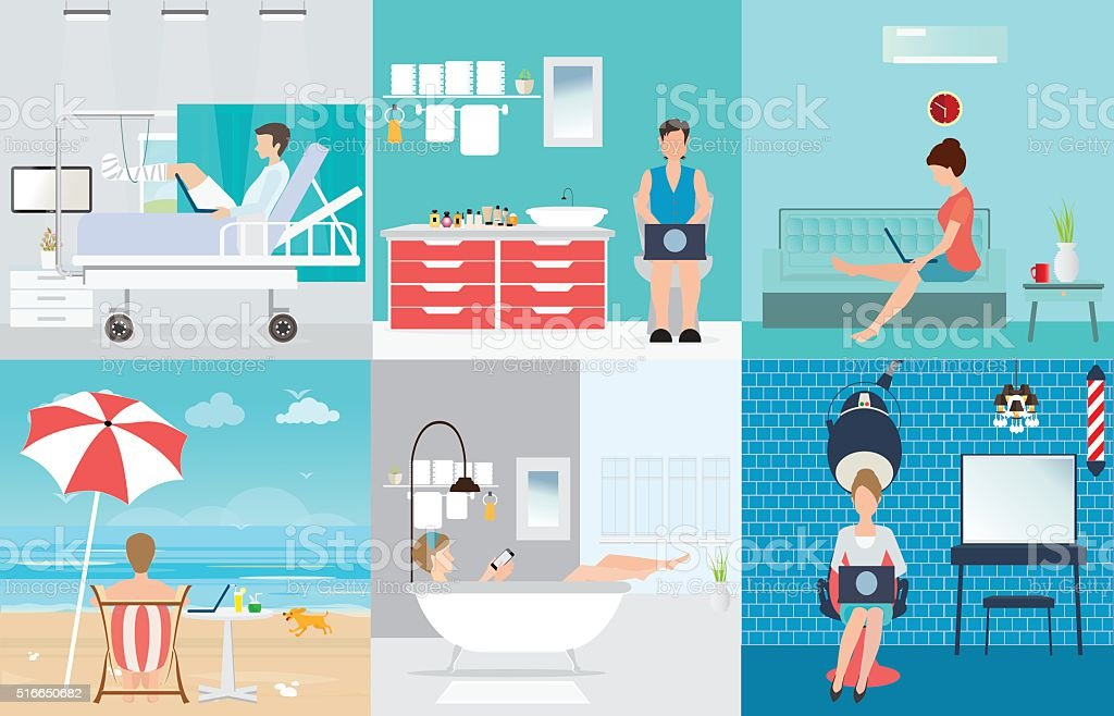 Freelance set with Various cartoon character design working at home. vector art illustration