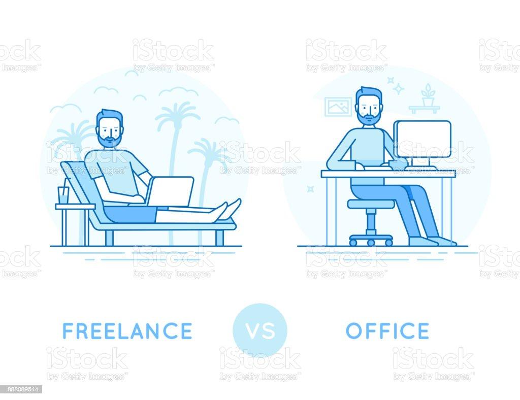 Freelance vs office vector art illustration