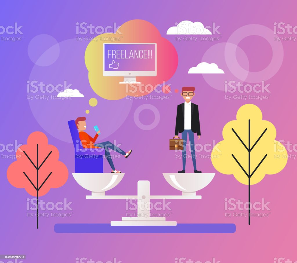 Freelance Web Online Or Office Work Work At Home Start Up Office Worker Man And Freelancer On Scale Vector Flat Cartoon Design Graphic Illustration Stock Illustration Download Image Now Istock