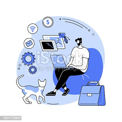istock Freelance work abstract concept vector illustration. 1324723302