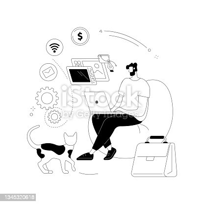 istock Freelance work abstract concept vector illustration. 1345320618