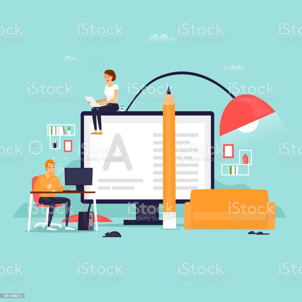 Freier, Arbeit zu Hause. Flaches Design-Vektor-Illustration. – Vektorgrafik
