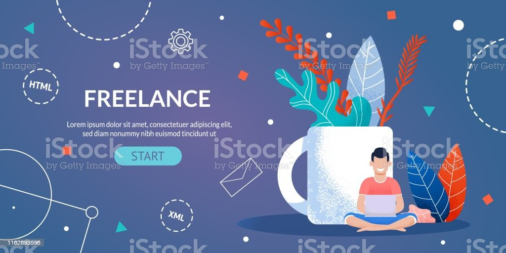 Freelance Work for Designer and Programmer Webpage. Happy Man Working...