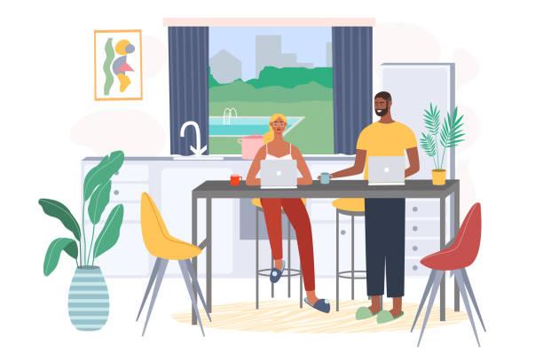 bildbanksillustrationer, clip art samt tecknat material och ikoner med frilansarbete - arbeta köksbord man