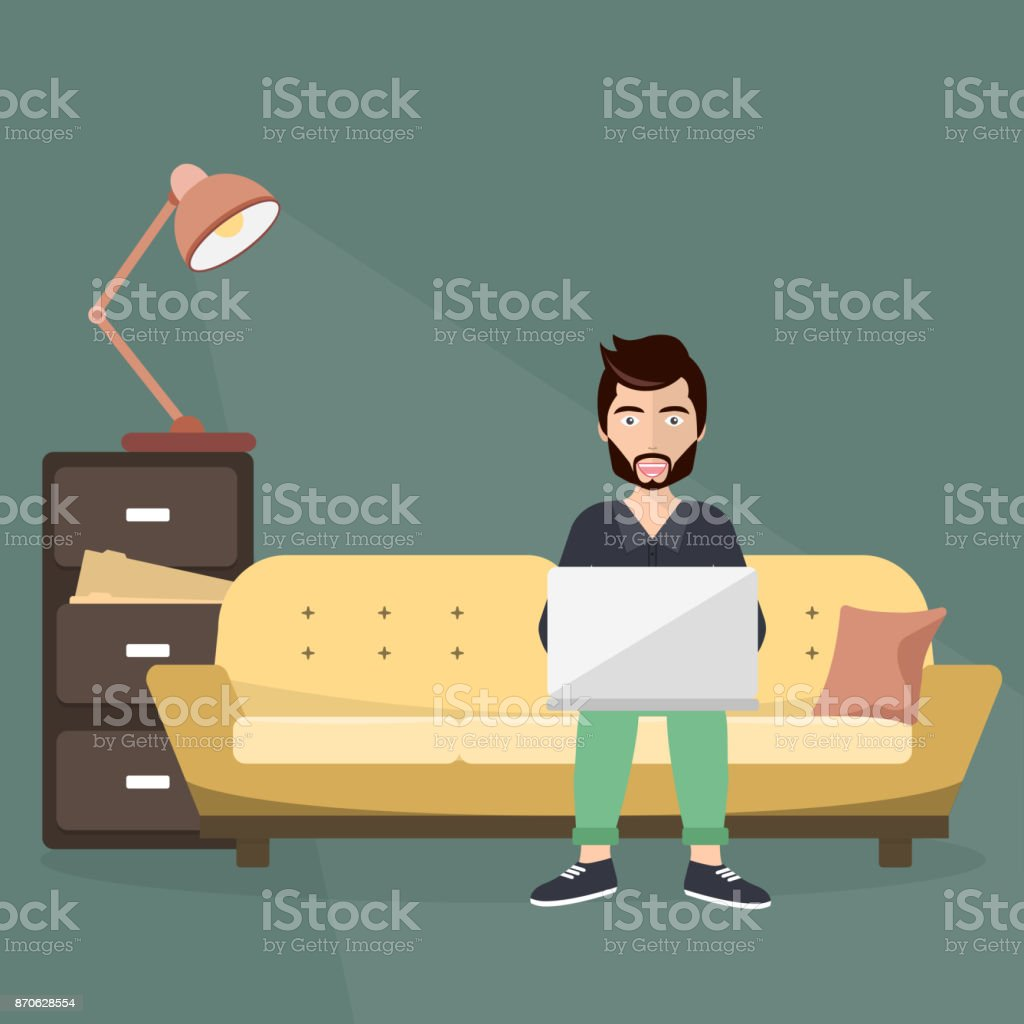 Freelance worker sitting on sofa with lap top. Workplace concept. Flat vector illustration. vector art illustration