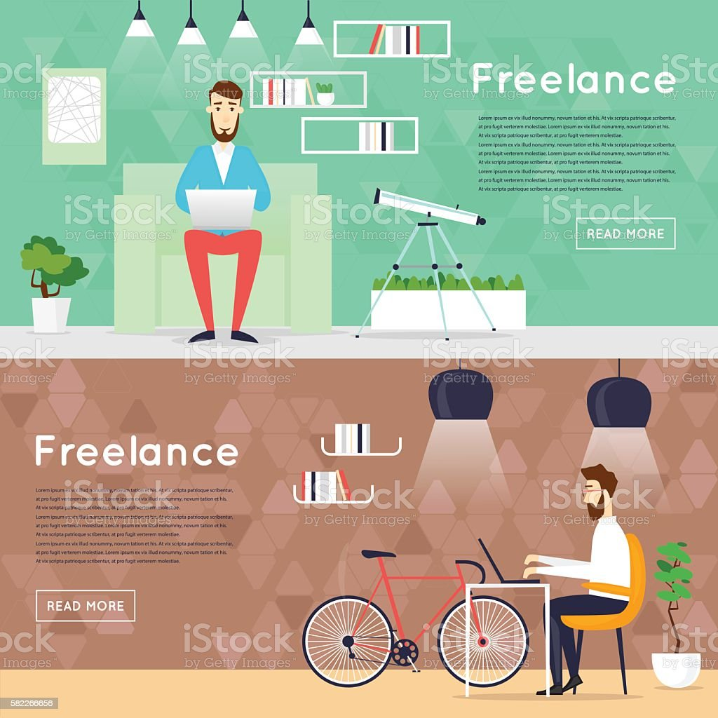 Freelance Working At Home Office Work Banners Flat Vector ...