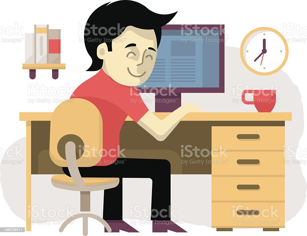 Freelancer at His Workplace vector art illustration