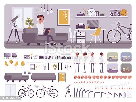 Freelancer boy room interior, home office creation kit, workspace set, furniture, build own design with different wall and floor color constructor elements. Cartoon flat style infographic illustration