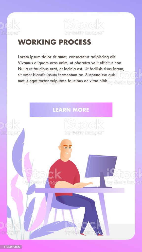 Freelancer Character Working Process Mobile Banner Stock