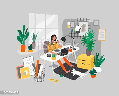 istock Freelancer designer girl working in nordic style home office with cat. Daily life and everyday routine scene by young woman in scandinavian style cozy interior with homeplants. Cartoon vector 1203751672