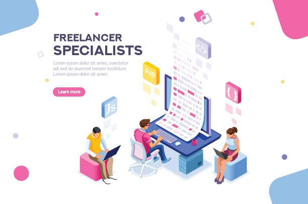 ilustraciones, imágenes clip art, dibujos animados e iconos de stock de plantilla editable de freelance banner - trabajo freelance