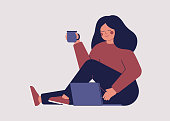 Freelancer female employee works in comfortable conditions at home. Teenage girl is using her laptop to communicate with friends in social media and search for information on the Internet. Vector