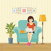 Freelancer girl on chair at home. Vector flat illustration .