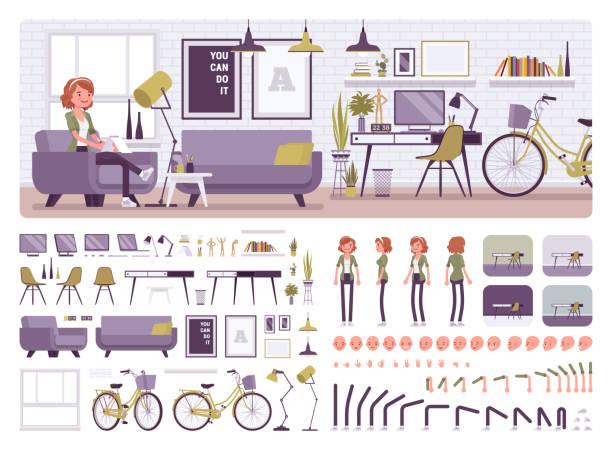 ilustrações de stock, clip art, desenhos animados e ícones de freelancer girl room interior, home office design creation set - obras em casa janelas