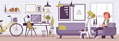 Freelancer girl room interior, modern home office design. Female freelance worker doing online job, young happy lady earning as independent self-employed person, cozy workspace. Vector illustration