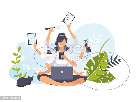 Vector illustration concept of businesswoman practicing meditation in the office. Girl with many hands sits in the lotus position, the thought process, the inception, and the search for ideas. Yoga
