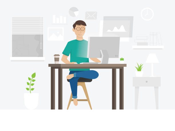 ilustrações, clipart, desenhos animados e ícones de um cara freelancer que trabalha em casa - só um homem jovem