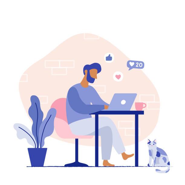 ilustrações, clipart, desenhos animados e ícones de local de trabalho doméstico freelancer. homem que senta-se na cadeira que trabalha no portátil. - carteira