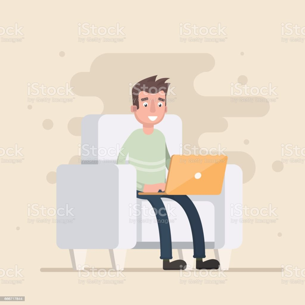 Freelancer is sitting in the chair and working. vector art illustration