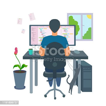 Cozy environment: coffee, cat, pot flower, window. Vector illustration isolated on white background.