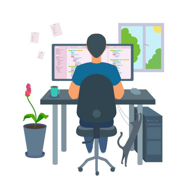 ilustrações, clipart, desenhos animados e ícones de um programador freelancer codificando um programa em casa. - carteira