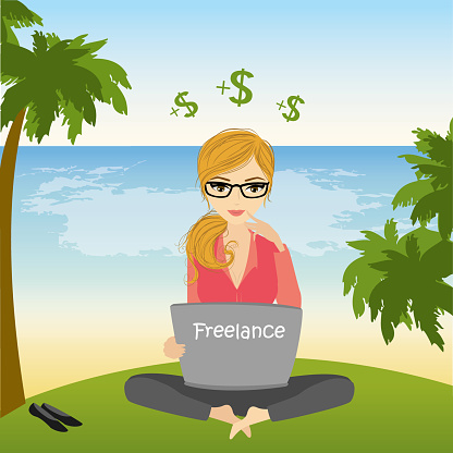 freelancer sitting on the beach in lotus pose and works