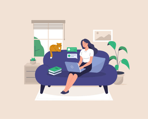 freelancer - home stock illustrations