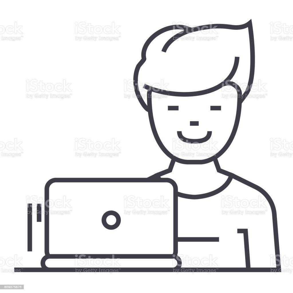 Freelancer Vector Line Icon Sign Illustration On Background