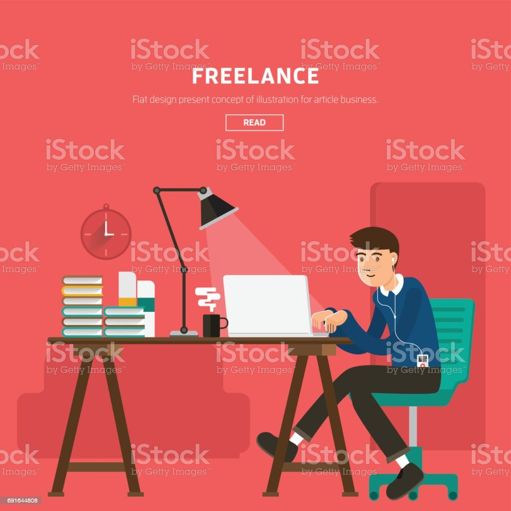 freelancer with elements vector vector art illustration