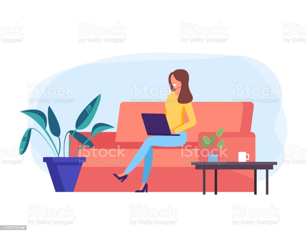 Freelancer Woman Office Worker Character Working At Home Freelance Work Concept Vector Design Graphic Flat Cartoon Illustration Stock Illustration Download Image Now Istock