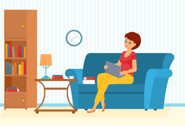 freelancer woman on a sofa with leptop - work from home stock illustrations