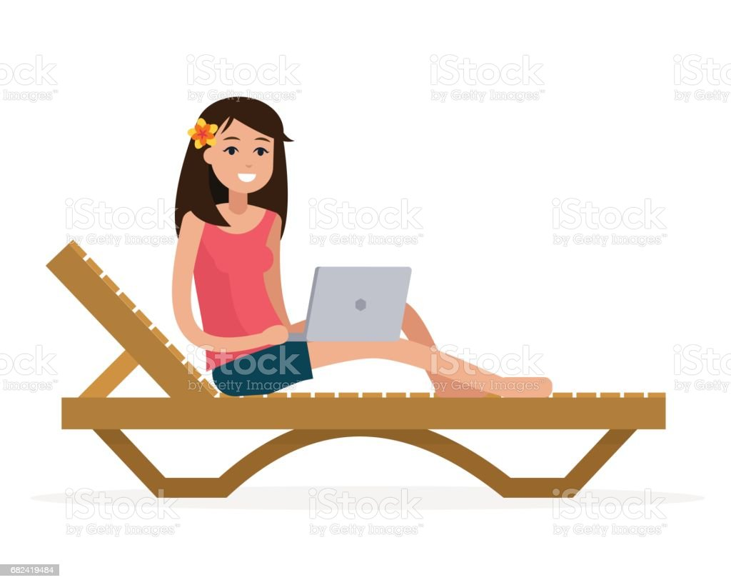 Freelancer woman with computer on lounge. freelancer woman with computer on lounge – cliparts vectoriels et plus d'images de achats en ligne libre de droits