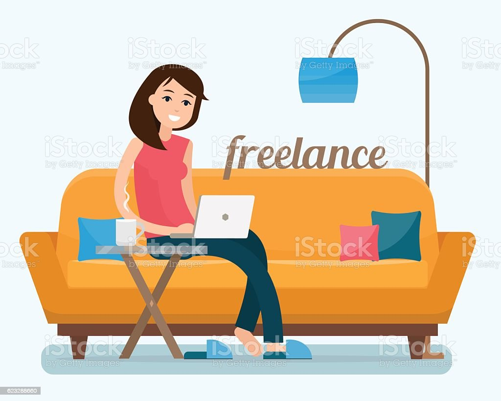 Freelancer woman with computer on sofa - ilustración de arte vectorial