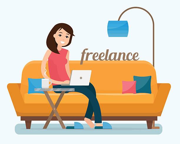 Freelancer woman with computer on sofa - ilustración de arte vectorial