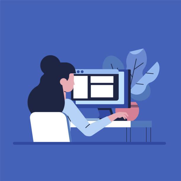 コンピューター フラット ベクトル イラストレーションに働くフリーランサー女性。 - フリーランス点のイラスト素材/クリップアート素材/マンガ素材/アイコン素材
