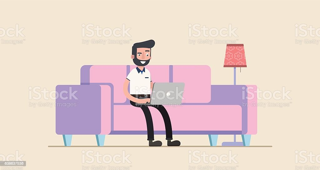 freelancer working at home with laptop computer on cozy sofa. ベクターアートイラスト