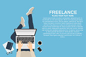 Freelancer working at home with laptop, top view. Concept of remote working or working at home. Outsourced employee, developer or web designer
