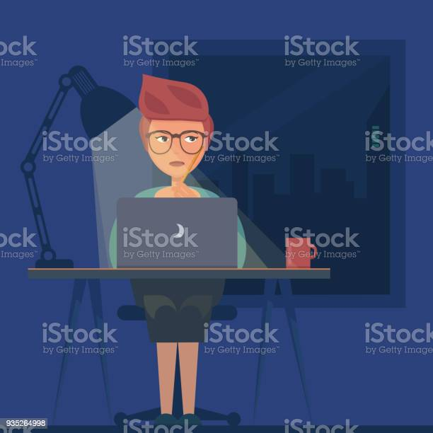 Freelancer working at night concept young woman sitting in the room vector id935264998?b=1&k=6&m=935264998&s=612x612&h=foghccyhqpo7jd8vhiksfussiwfzqopdfzb4wtcnp2o=