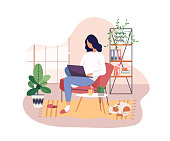 Freelancer working on laptop at home, remote job. Young girl studying from home, e-learning concept. Comfortable conditions for work during the quarantine. Online shopping. Vector illustration.