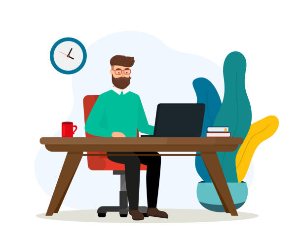 Freelancer works with laptop at home. Freelance concept illustration. Flat style. EPS 10. vector art illustration