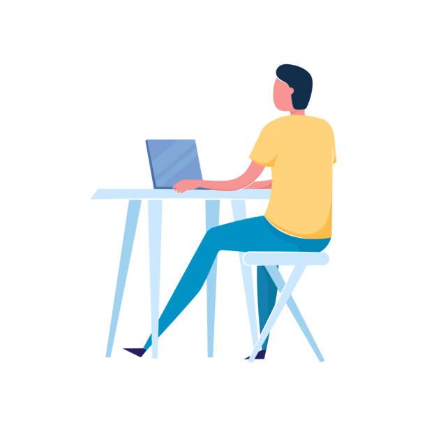 bildbanksillustrationer, clip art samt tecknat material och ikoner med frilansare ung man i blå jeans byxor som arbetar på laptop - arbeta köksbord man