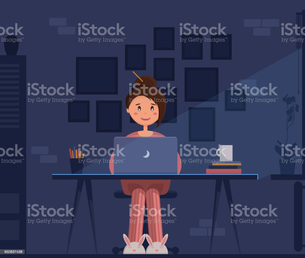 Freelancer young woman sitting at her home office with laptop at night, working. vector art illustration